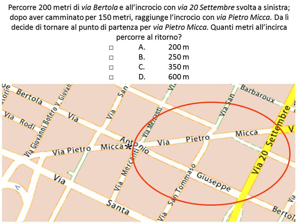 Percorre 200 metri di via Bertola e all'incrocio con via 20 Settembre svolta a sinistra; dopo aver camminato per 150 metri, raggiunge l'incrocio con via Pietro Micca.