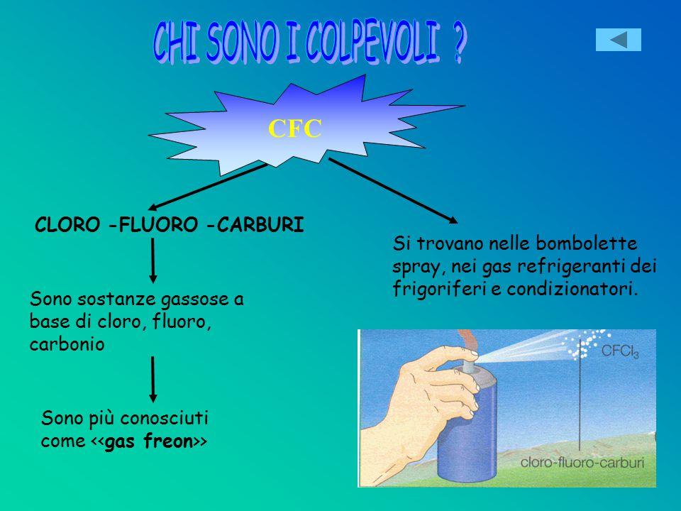 CFC CLORO -FLUORO -CARBURI Sono sostanze gassose a base di cloro, fluoro, carbonio Sono più conosciuti come <<gas freon>> Si trovano nelle bombolette