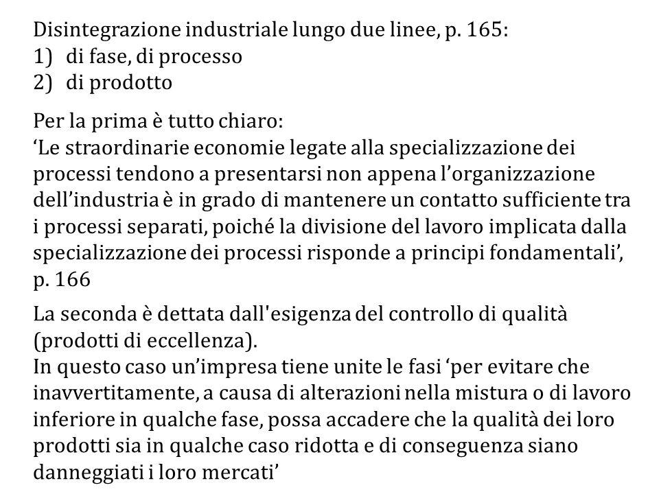 Disintegrazione industriale lungo due linee, p.