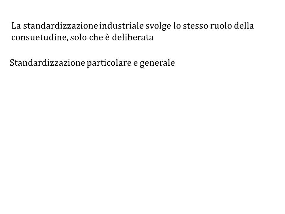 La standardizzazione industriale svolge lo stesso ruolo della consuetudine, solo che è deliberata Standardizzazione particolare e generale
