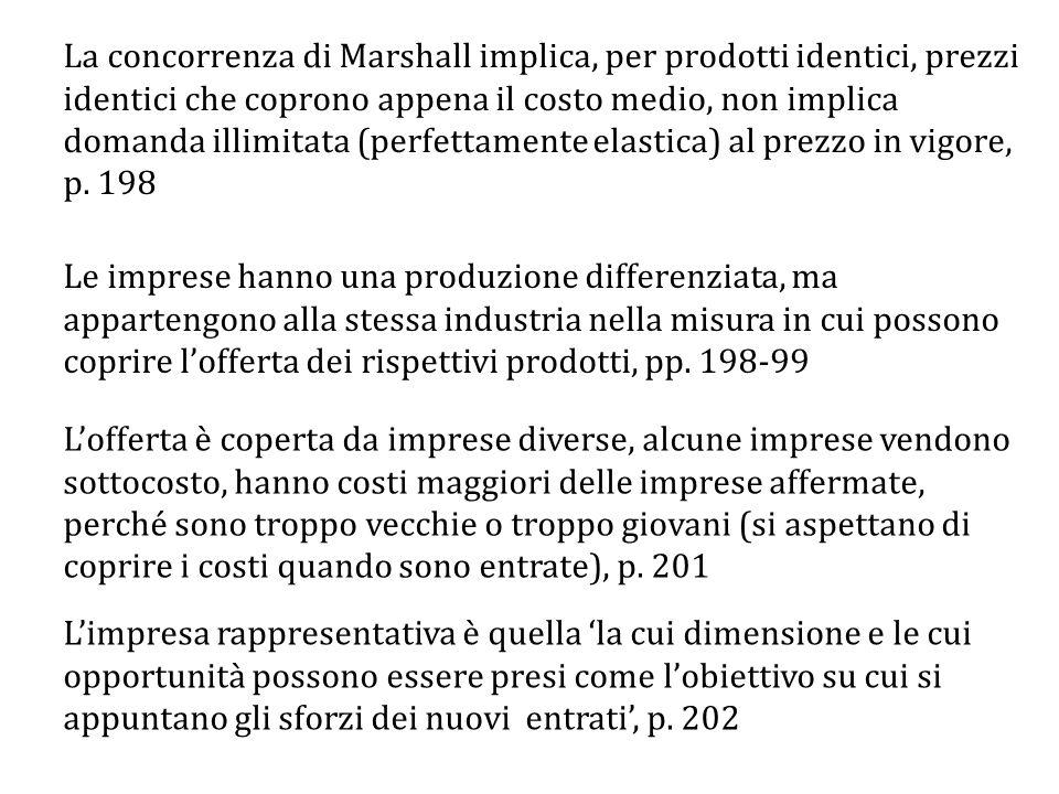 La concorrenza di Marshall implica, per prodotti identici, prezzi identici che coprono appena il costo medio, non implica domanda illimitata (perfettamente elastica) al prezzo in vigore, p.