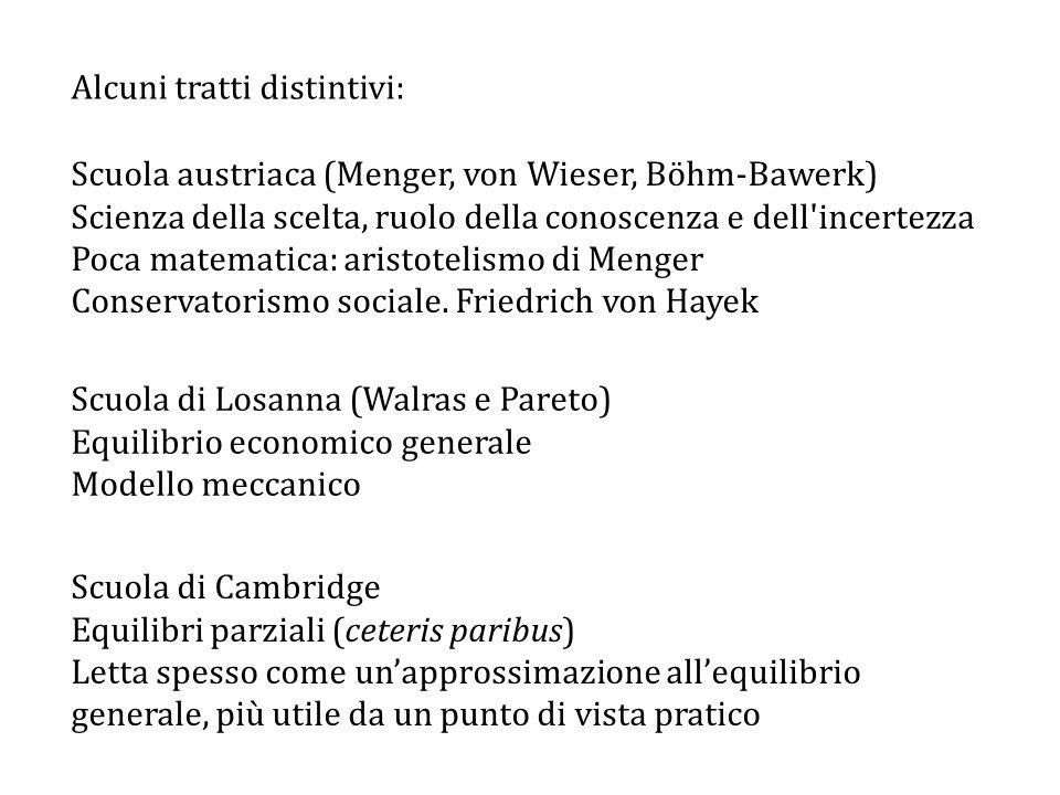 Alcuni tratti distintivi: Scuola austriaca (Menger, von Wieser, Böhm-Bawerk) Scienza della scelta, ruolo della conoscenza e dell incertezza Poca matematica: aristotelismo di Menger Conservatorismo sociale.