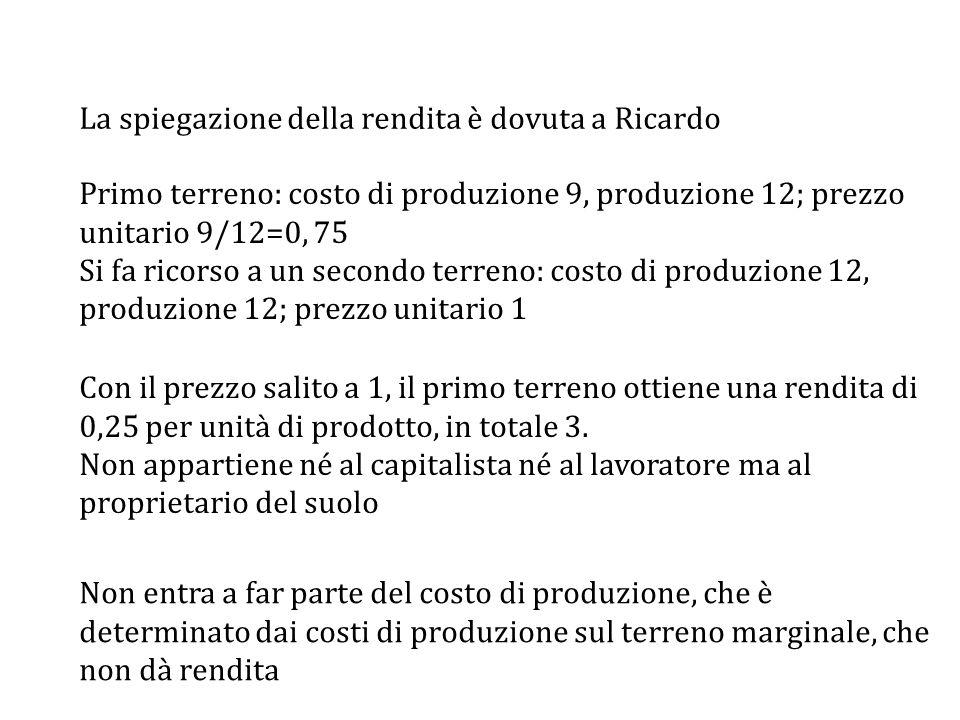 Primo terreno: costo di produzione 9, produzione 12; prezzo unitario 9/12=0, 75 Si fa ricorso a un secondo terreno: costo di produzione 12, produzione 12; prezzo unitario 1 Con il prezzo salito a 1, il primo terreno ottiene una rendita di 0,25 per unità di prodotto, in totale 3.
