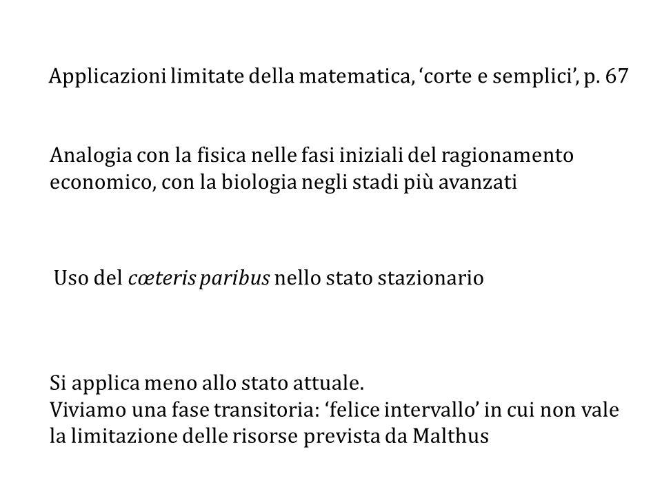 Applicazioni limitate della matematica, 'corte e semplici', p.