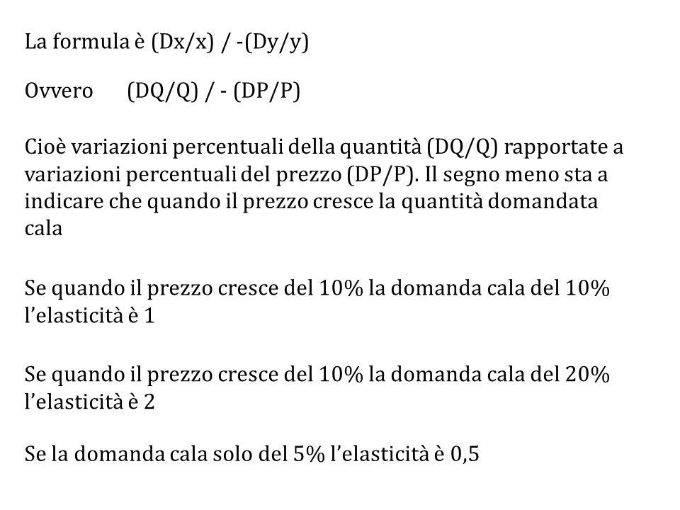 La formula è (Dx/x) / -(Dy/y) Se quando il prezzo cresce del 10% la domanda cala del 10% l'elasticità è 1 Cioè variazioni percentuali della quantità (DQ/Q) rapportate a variazioni percentuali del prezzo (DP/P).