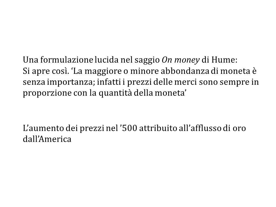 Una formulazione lucida nel saggio On money di Hume: Si apre così.