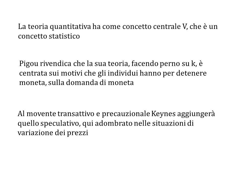 La teoria quantitativa ha come concetto centrale V, che è un concetto statistico Pigou rivendica che la sua teoria, facendo perno su k, è centrata sui motivi che gli individui hanno per detenere moneta, sulla domanda di moneta Al movente transattivo e precauzionale Keynes aggiungerà quello speculativo, qui adombrato nelle situazioni di variazione dei prezzi