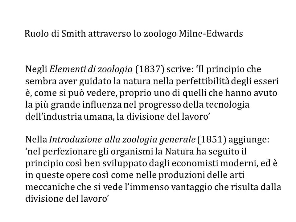 Ruolo di Smith attraverso lo zoologo Milne-Edwards Negli Elementi di zoologia (1837) scrive: 'Il principio che sembra aver guidato la natura nella perfettibilità degli esseri è, come si può vedere, proprio uno di quelli che hanno avuto la più grande influenza nel progresso della tecnologia dell'industria umana, la divisione del lavoro' Nella Introduzione alla zoologia generale (1851) aggiunge: 'nel perfezionare gli organismi la Natura ha seguito il principio così ben sviluppato dagli economisti moderni, ed è in queste opere così come nelle produzioni delle arti meccaniche che si vede l'immenso vantaggio che risulta dalla divisione del lavoro'