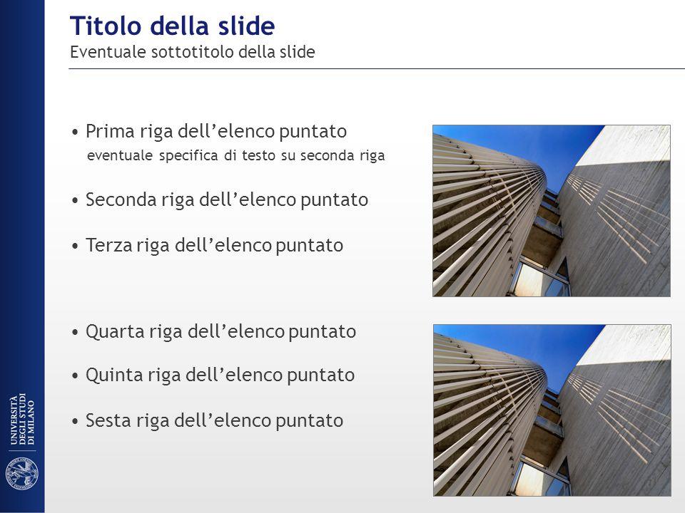 Titolo della slide Eventuale sottotitolo della slide Prima riga dell'elenco puntato eventuale specifica di testo su seconda riga Seconda riga dell'ele