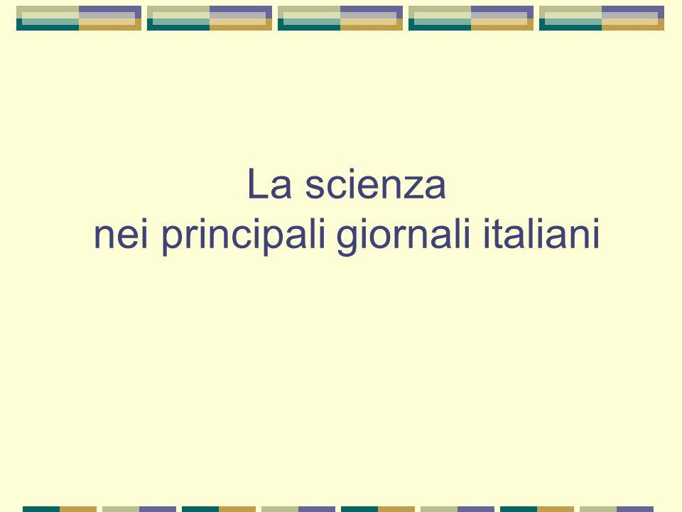 La scienza nei principali giornali italiani
