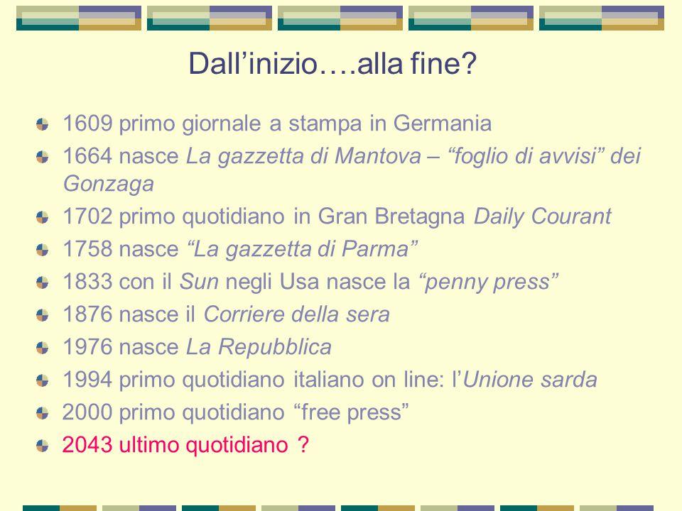 """Dall'inizio….alla fine? 1609 primo giornale a stampa in Germania 1664 nasce La gazzetta di Mantova – """"foglio di avvisi"""" dei Gonzaga 1702 primo quotidi"""