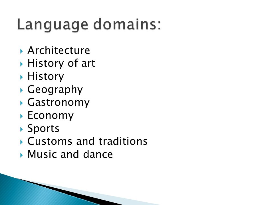  Architecture  History of art  History  Geography  Gastronomy  Economy  Sports  Customs and traditions  Music and dance