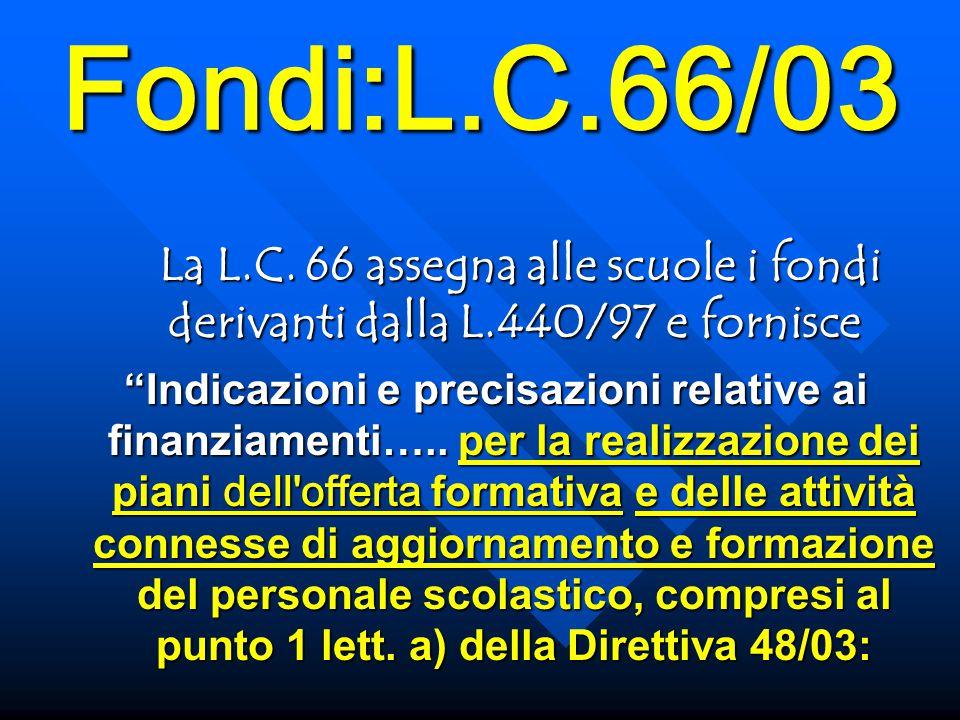 Fondi:L.C.66/03 La L.C. 66 assegna alle scuole i fondi derivanti dalla L.440/97 e fornisce La L.C.