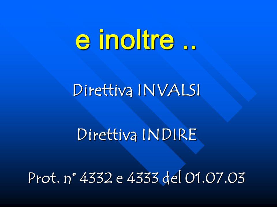 e inoltre.. Direttiva INVALSI Direttiva INDIRE Prot. n° 4332 e 4333 del 01.07.03