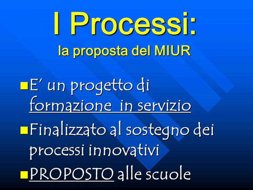 I Processi: la proposta del MIUR E' un progetto di formazione in servizio E' un progetto di formazione in servizio Finalizzato al sostegno dei processi innovativi Finalizzato al sostegno dei processi innovativi PROPOSTO alle scuole PROPOSTO alle scuole