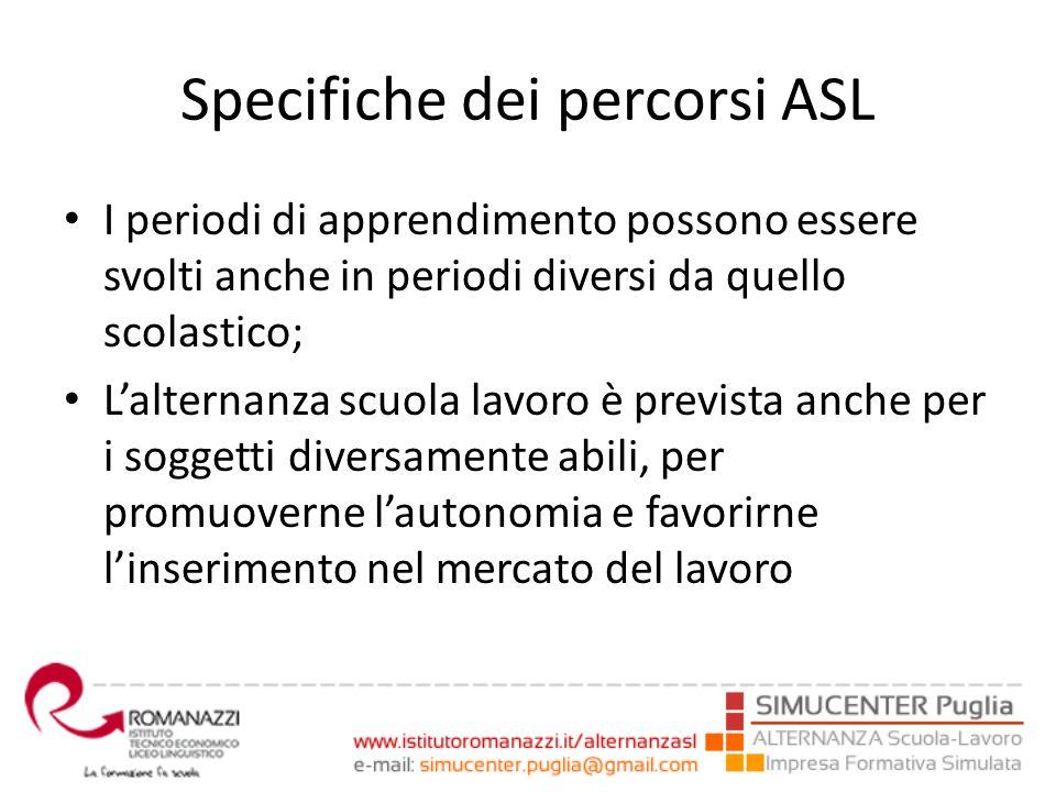 Specifiche dei percorsi ASL I periodi di apprendimento possono essere svolti anche in periodi diversi da quello scolastico; L'alternanza scuola lavoro