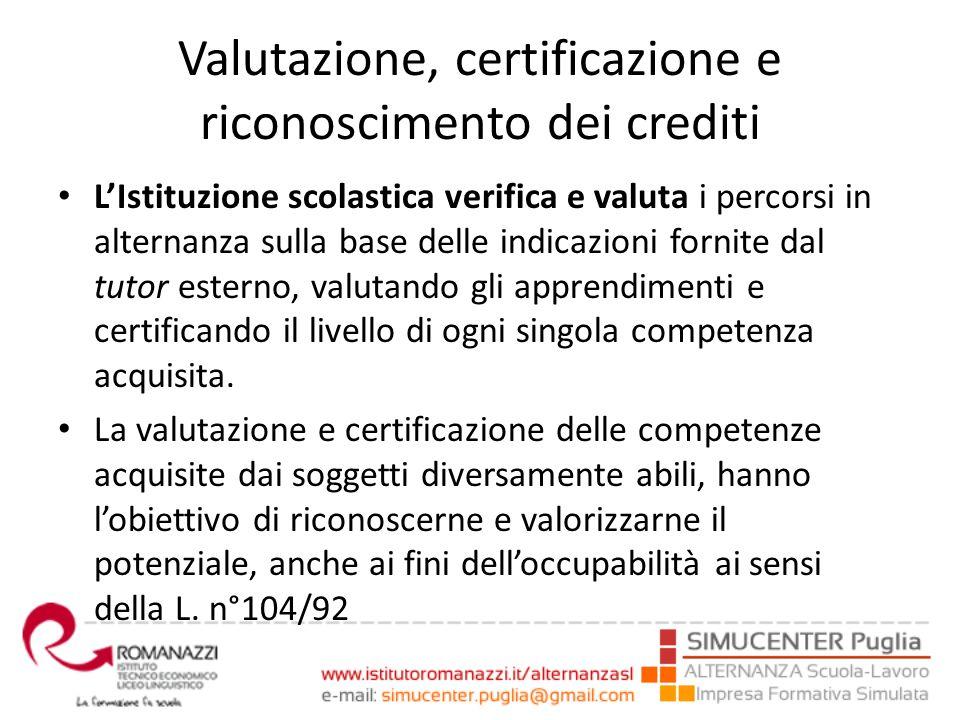 Valutazione, certificazione e riconoscimento dei crediti L'Istituzione scolastica verifica e valuta i percorsi in alternanza sulla base delle indicazi