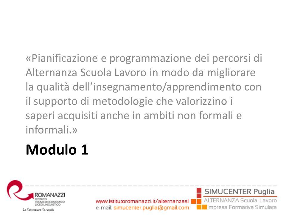 Modulo 1 «Pianificazione e programmazione dei percorsi di Alternanza Scuola Lavoro in modo da migliorare la qualità dell'insegnamento/apprendimento co
