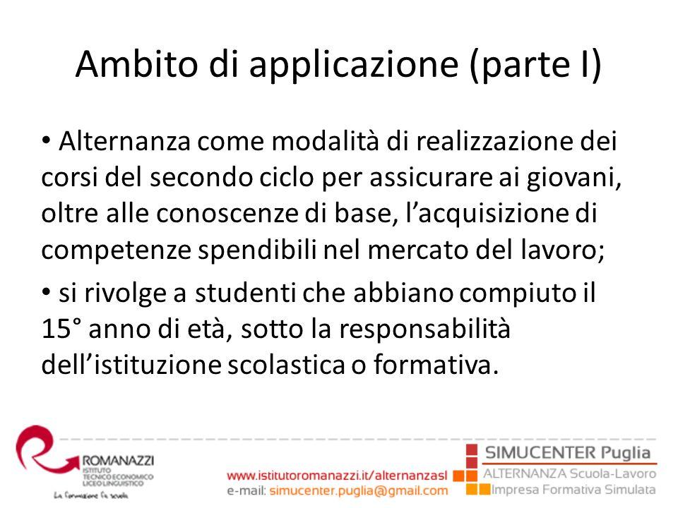 Ambito di applicazione (parte I) Alternanza come modalità di realizzazione dei corsi del secondo ciclo per assicurare ai giovani, oltre alle conoscenz