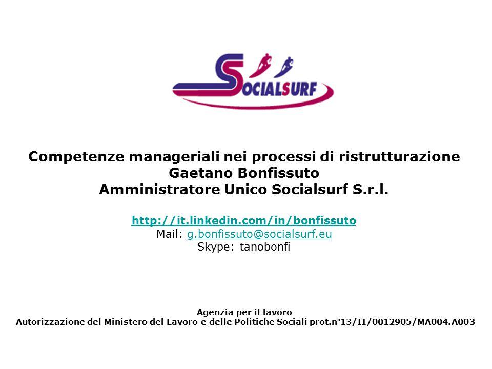 Competenze manageriali nei processi di ristrutturazione Gaetano Bonfissuto Amministratore Unico Socialsurf S.r.l.