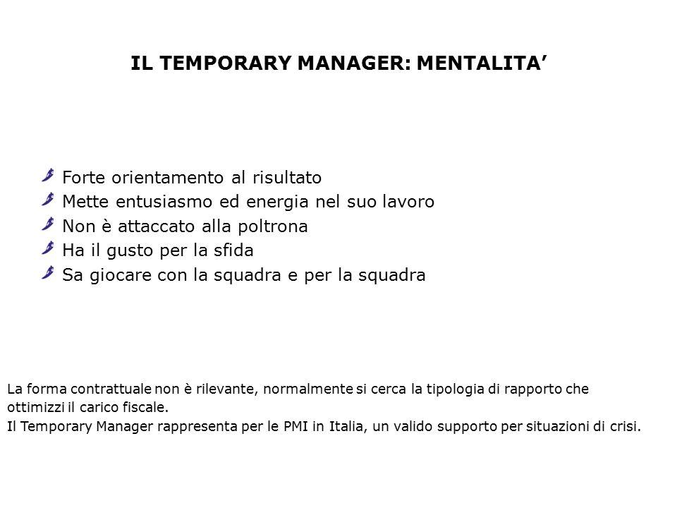 IL TEMPORARY MANAGER: MENTALITA' Forte orientamento al risultato Mette entusiasmo ed energia nel suo lavoro Non è attaccato alla poltrona Ha il gusto