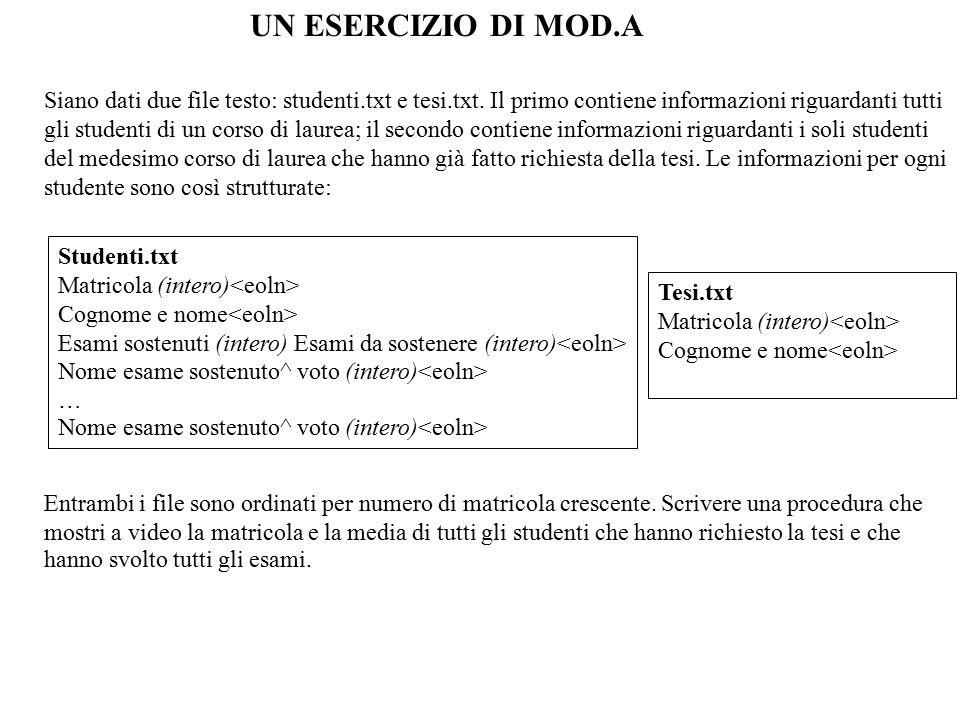 Siano dati due file testo: studenti.txt e tesi.txt.