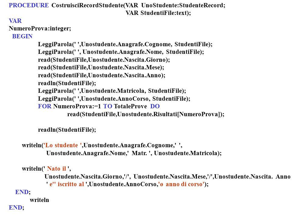 PROCEDURE CostruisciRecordStudente(VAR UnoStudente:StudenteRecord; VAR StudentiFile:text); VAR NumeroProva:integer; BEGIN LeggiParola(' ',Unostudente.