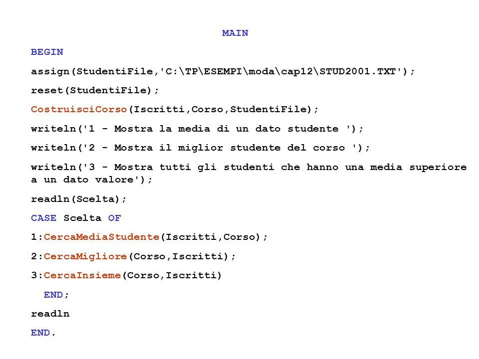 MAIN BEGIN assign(StudentiFile, C:\TP\ESEMPI\moda\cap12\STUD2001.TXT ); reset(StudentiFile); CostruisciCorso(Iscritti,Corso,StudentiFile); writeln( 1 - Mostra la media di un dato studente ); writeln( 2 - Mostra il miglior studente del corso ); writeln( 3 - Mostra tutti gli studenti che hanno una media superiore a un dato valore ); readln(Scelta); CASE Scelta OF 1:CercaMediaStudente(Iscritti,Corso); 2:CercaMigliore(Corso,Iscritti); 3:CercaInsieme(Corso,Iscritti) END; readln END.