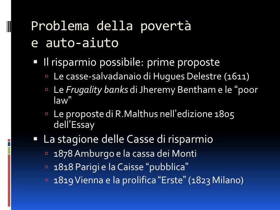Problema della povertà e auto-aiuto  Il risparmio possibile: prime proposte  Le casse-salvadanaio di Hugues Delestre (1611)  Le Frugality banks di