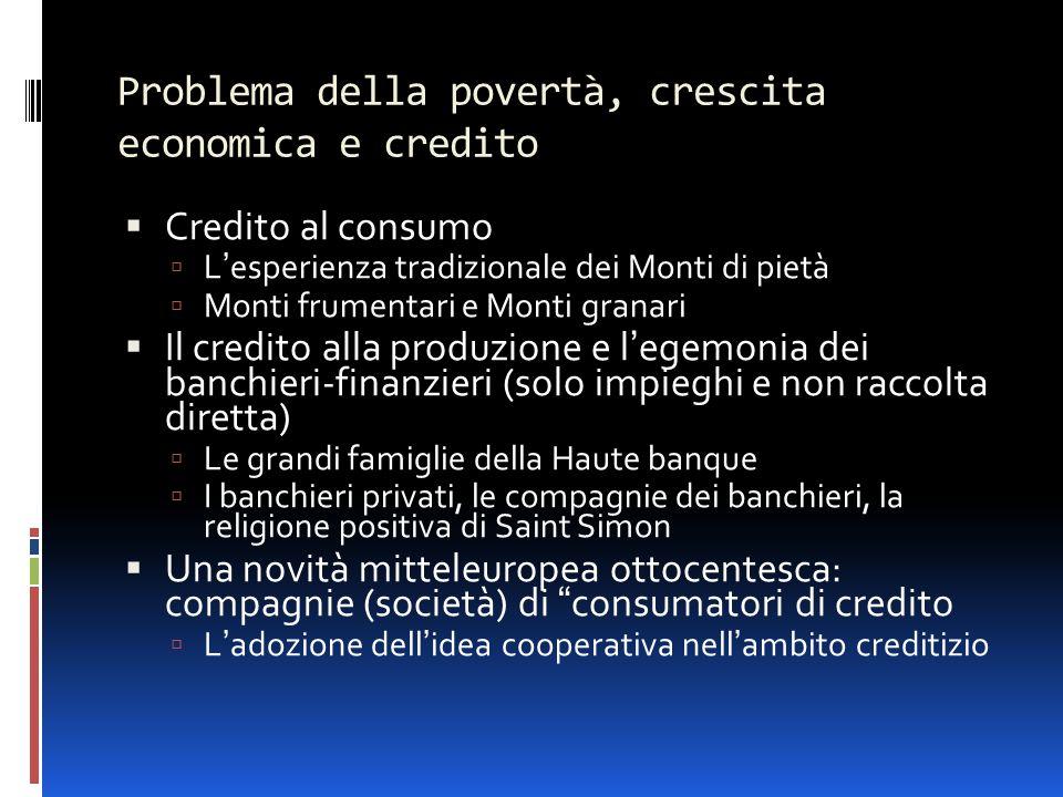 Problema della povertà, crescita economica e credito  Credito al consumo  L'esperienza tradizionale dei Monti di pietà  Monti frumentari e Monti gr