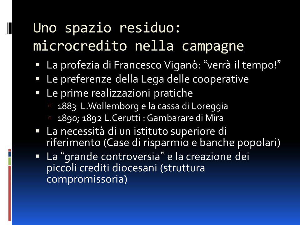 """Uno spazio residuo: microcredito nella campagne  La profezia di Francesco Viganò: """"verrà il tempo!""""  Le preferenze della Lega delle cooperative  Le"""