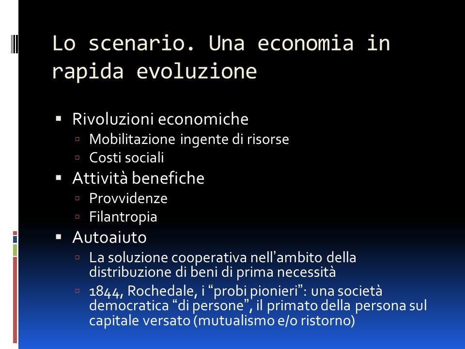 Lo scenario. Una economia in rapida evoluzione  Rivoluzioni economiche  Mobilitazione ingente di risorse  Costi sociali  Attività benefiche  Prov