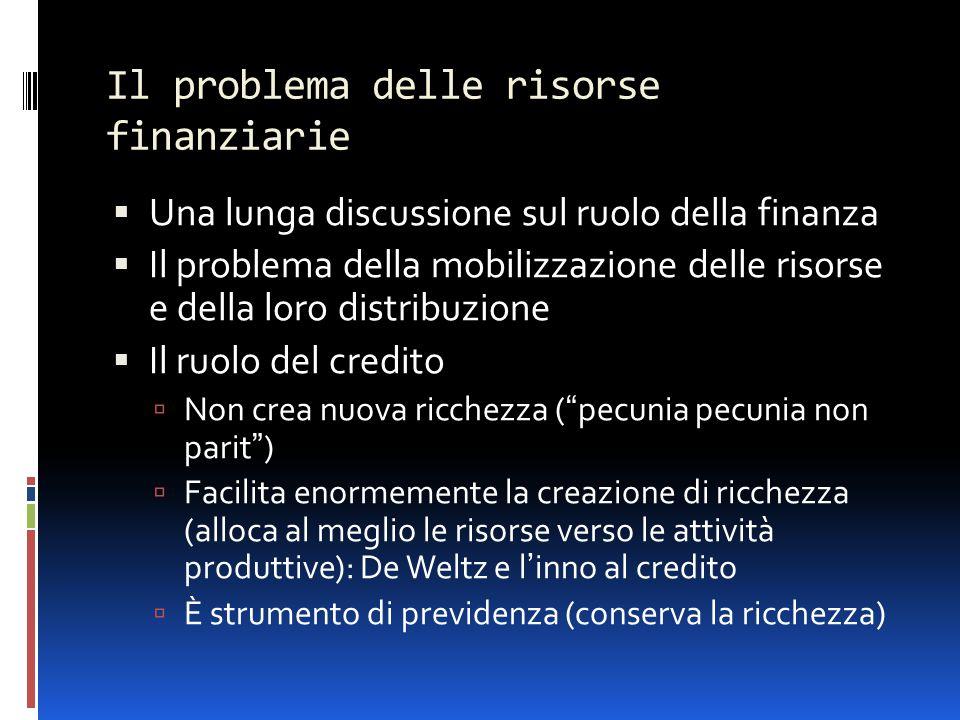 Il problema delle risorse finanziarie  Una lunga discussione sul ruolo della finanza  Il problema della mobilizzazione delle risorse e della loro di
