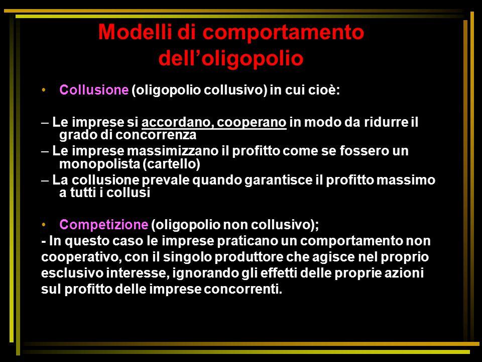 Modelli di comportamento dell'oligopolio Collusione (oligopolio collusivo) in cui cioè: – Le imprese si accordano, cooperano in modo da ridurre il gra