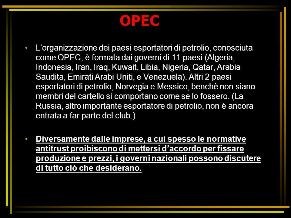 OPEC L'organizzazione dei paesi esportatori di petrolio, conosciuta come OPEC, è formata dai governi di 11 paesi (Algeria, Indonesia, Iran, Iraq, Kuwa
