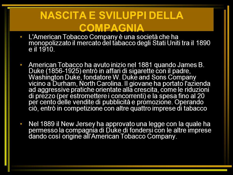 NASCITA E SVILUPPI DELLA COMPAGNIA L'American Tobacco Company è una società che ha monopolizzato il mercato del tabacco degli Stati Uniti tra il 1890