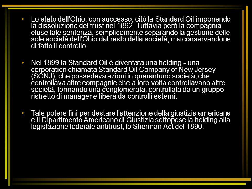 Lo stato dell'Ohio, con successo, citò la Standard Oil imponendo la dissoluzione del trust nel 1892. Tuttavia però la compagnia eluse tale sentenza, s