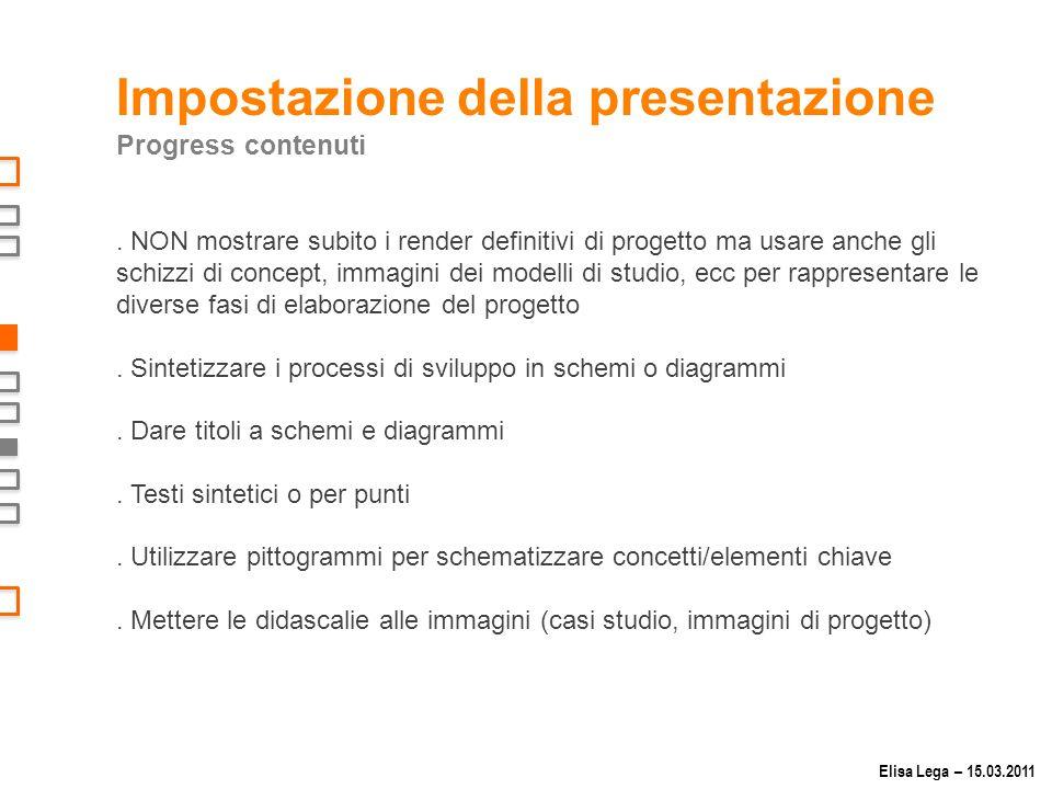 Impostazione della presentazione Progress contenuti.