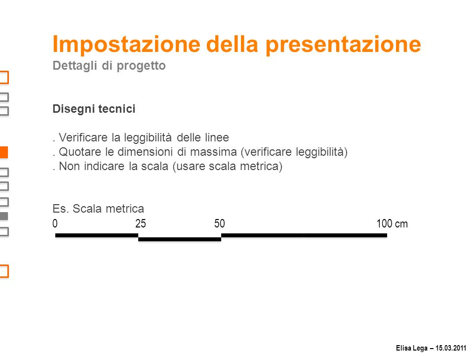 Impostazione della presentazione Dettagli di progetto Disegni tecnici.
