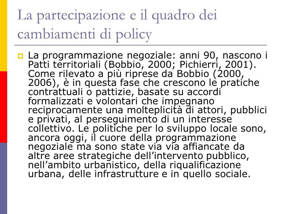 La partecipazione e il quadro dei cambiamenti di policy  La programmazione negoziale: anni 90, nascono i Patti territoriali (Bobbio, 2000; Pichierri,