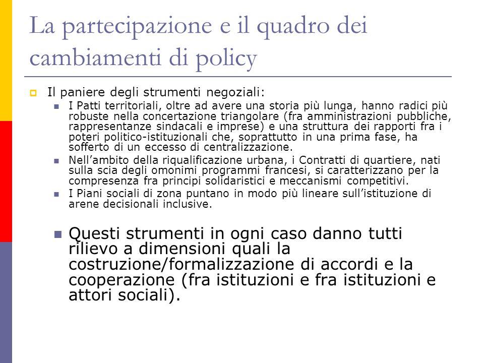 La partecipazione e il quadro dei cambiamenti di policy  Il paniere degli strumenti negoziali: I Patti territoriali, oltre ad avere una storia più lu