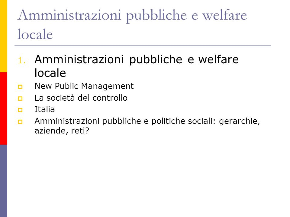 Amministrazioni pubbliche e welfare locale 1. Amministrazioni pubbliche e welfare locale  New Public Management  La società del controllo  Italia 