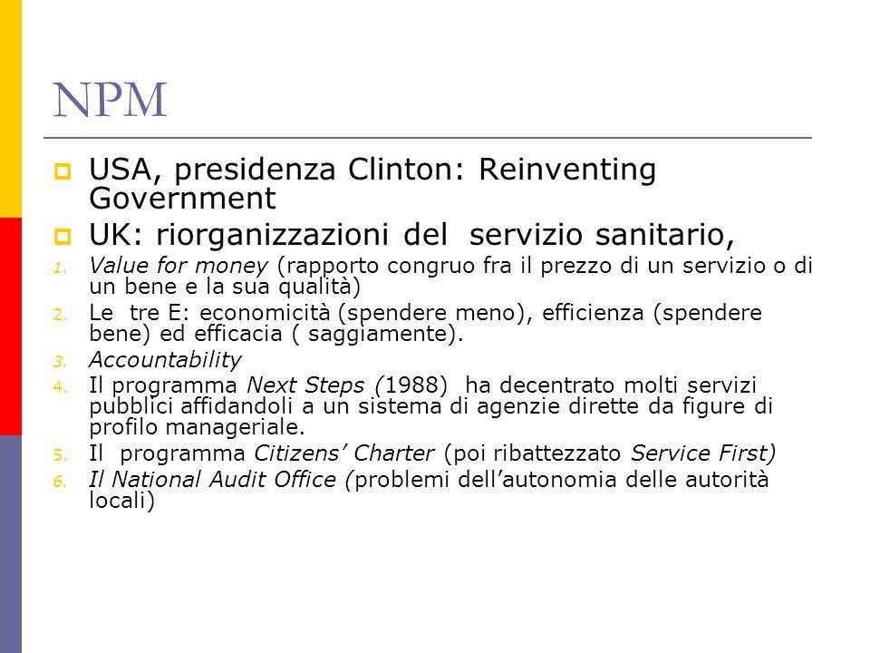 NPM  USA, presidenza Clinton: Reinventing Government  UK: riorganizzazioni del servizio sanitario, 1.