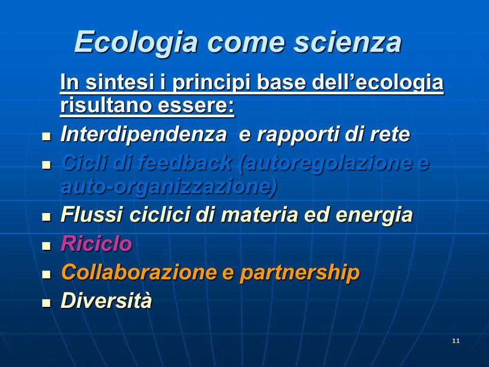 11 Ecologia come scienza In sintesi i principi base dell'ecologia risultano essere: Interdipendenza e rapporti di rete Interdipendenza e rapporti di r