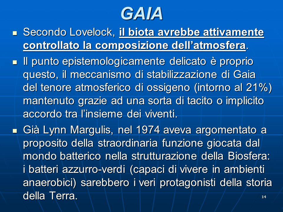 14 GAIA Secondo Lovelock, il biota avrebbe attivamente controllato la composizione dell'atmosfera. Secondo Lovelock, il biota avrebbe attivamente cont