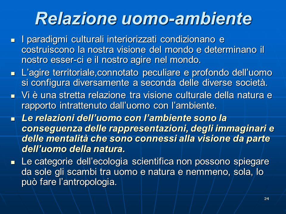 24 Relazione uomo-ambiente I paradigmi culturali interiorizzati condizionano e costruiscono la nostra visione del mondo e determinano il nostro esser-