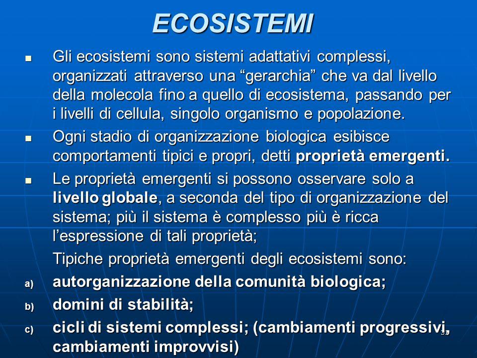 """31ECOSISTEMI Gli ecosistemi sono sistemi adattativi complessi, organizzati attraverso una """"gerarchia"""" che va dal livello della molecola fino a quello"""
