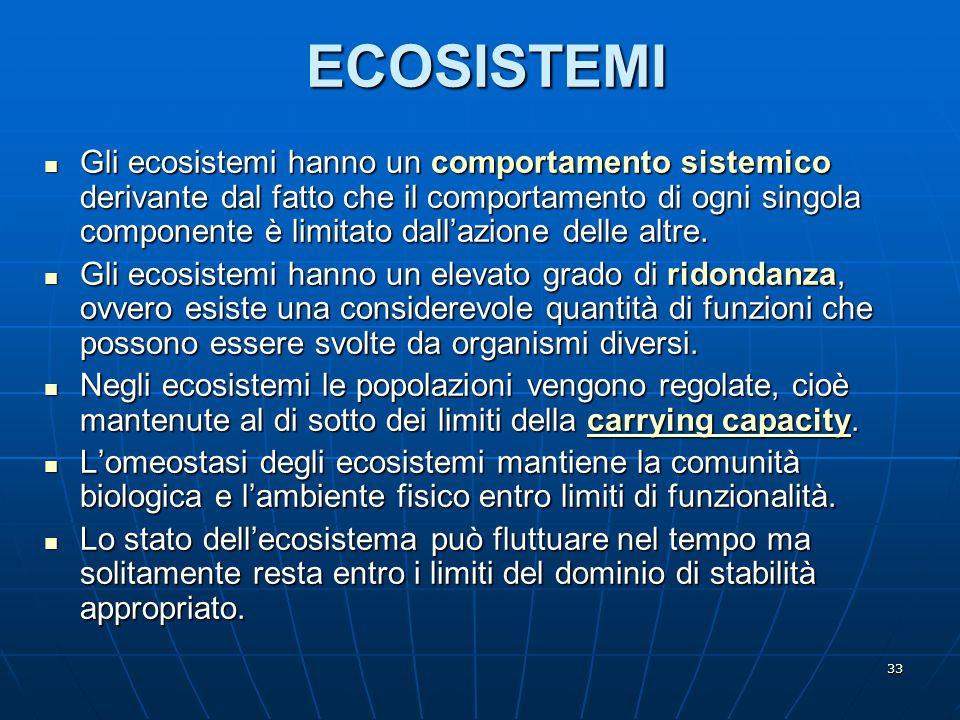 33 ECOSISTEMI Gli ecosistemi hanno un comportamento sistemico derivante dal fatto che il comportamento di ogni singola componente è limitato dall'azio