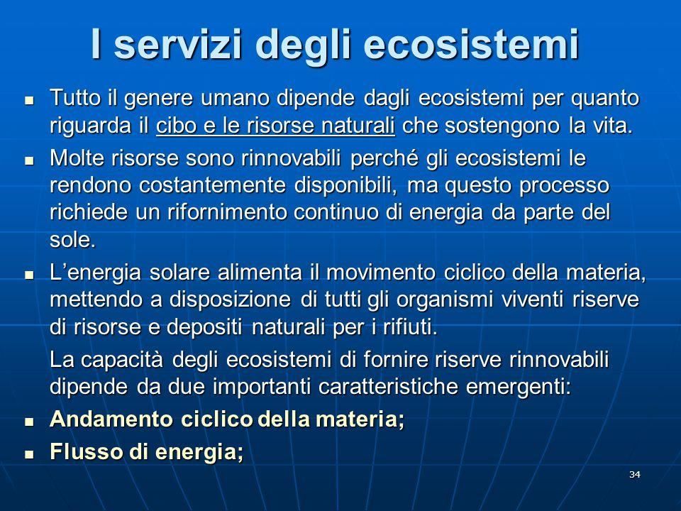 34 I servizi degli ecosistemi Tutto il genere umano dipende dagli ecosistemi per quanto riguarda il cibo e le risorse naturali che sostengono la vita.