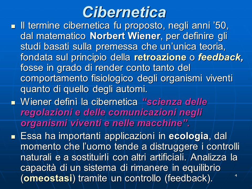 4 Cibernetica Il termine cibernetica fu proposto, negli anni '50, dal matematico Norbert Wiener, per definire gli studi basati sulla premessa che un'u